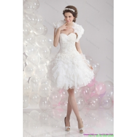 Elegant White Sweetheart Wedding Gowns with Ruffles and Sequins