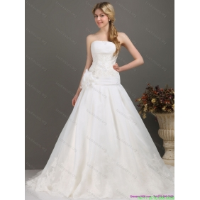 Elegant White Wedding Dresses with Brush Train and Hand Made Flower
