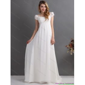 Popular 2015 Ruching Square Wedding Dress with Floor-length