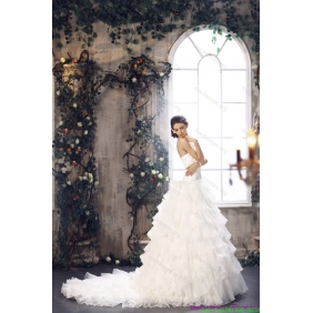 Popular 2015 Strapless Wedding Dress with Beading and Ruffles