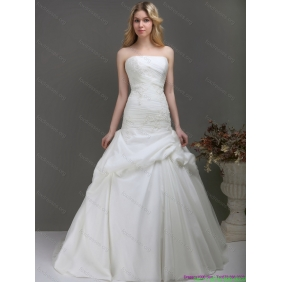Popular Strapless Wedding Dress with Ruching and Lace for 2015