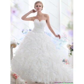 2015 Beautiful Sweetheart Ruffles and Beading White Wedding Dresses with Brush Train