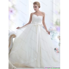 2015 Beautiful White Sweetheart Wedding Dresses with Waistband
