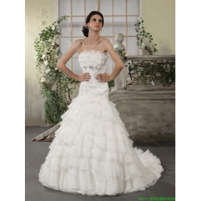 2015 New Arrival Strapless White Bridal Gowns with Ruffled Layers and Court Train