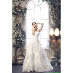2015 New Arrival White Sweetheart Ruching Wedding Dresses with Brush Train