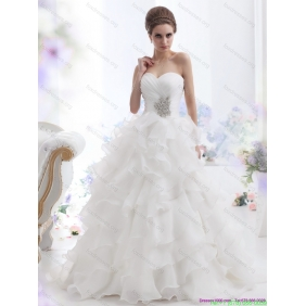 Beautiful Beading and Ruffled Layers Brush Train Wedding Dresses in White