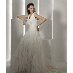 Beautiful Brush Train White Wedding Dresses with Hand Made Flower