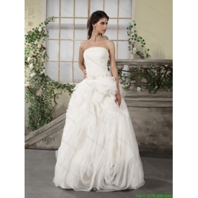Beautiful Ruffled Strapless White Wedding Dresses with Brush Train