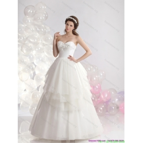 Beautiful Sweetheart Beaded Ruffled Wedding Dresses in White