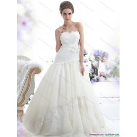 Beautiful White Strapless Wedding Dresses with Sash and Bownot