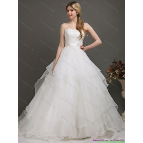 Beautiful White Wedding Dresses with Brush Train and Sash