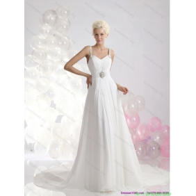 Elegant 2015 Empire Wedding Dress with Ruching and Beading