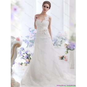 Elegant A Line Wedding Dress with Lace and Hand Made Flowers