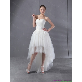 Elegant High Low White Sweetheart Wedding Dresses with Ruching and Appliques