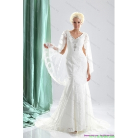 Elegant V Neck Wedding Dress with Lace and Appliques