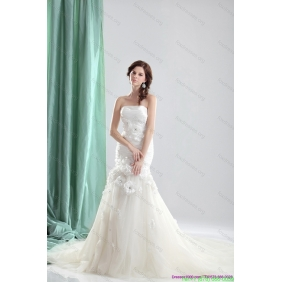 Elegant White Chapel Train Strapless Wedding Dresses with Ruching and Hand Made Flowers