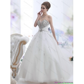 Elegant White Sweetheart Rhinestone Wedding Dresses for 2015
