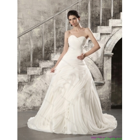 Elegant White Sweetheart Ruching Wedding Dresses with Brush Train