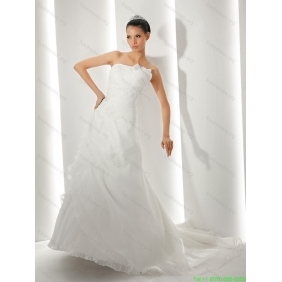 New Arrival Brush Train Ruching White Wedding Dresses with Appliques