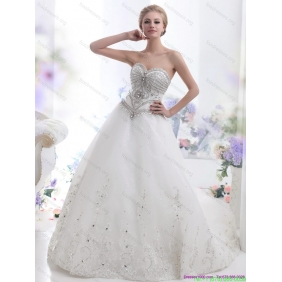 New Arrival White Sweetheart Rhinestones Wedding Dresses with Brush Train