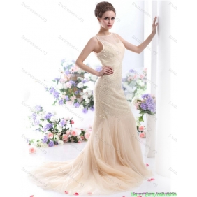 Popular 2015 Scoop Wedding Dress with Beadings