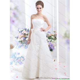 White Strapless Beautiful Wedding Dresses with Bownot and Brush Train