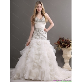 2015 Beautiful Halter Top Wedding Dress with Beading and Ruffles