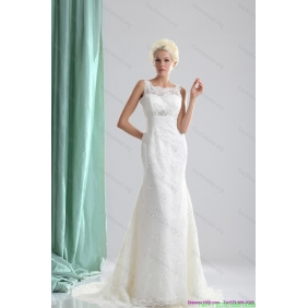 2015 Beautiful Lace and Beading Wedding Dress with Brush Train