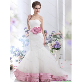 2015 Beautiful Strapless Mermaid Wedding Dress with Ruching and Hand Made Flowers