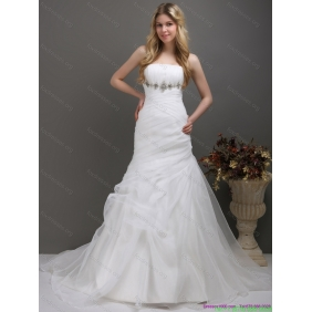 2015 Beautiful Strapless Wedding Dress with Ruching and Paillette