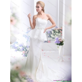 2015 Beautiful Sweetheart Wedding Dress with Lace and Bowknot