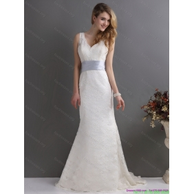 2015 Beautiful V Neck Lace and Sash Wedding Dress