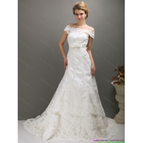 2015 New Arrival Off the Shoulder Wedding Dress with Bowknot
