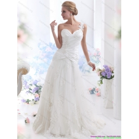 2015 New Arrival One Shoulder Wedding Dress with Ruching and Lace