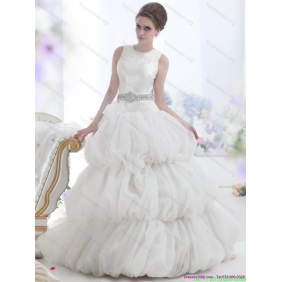 2015 New Arrival Scoop Wedding Dress with Beading