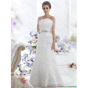 2015 New Arrival Strapless Wedding Dress with Beading and Ruching