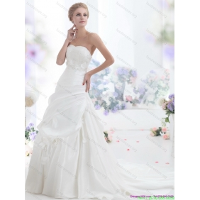 2015 New Arrival Strapless Wedding Dress with Lace and Ruching
