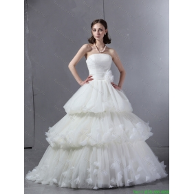 2015 New Arrival Strapless Wedding Dress with Ruffles and Ruching