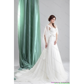 2015 New Arrival Straps Wedding Dress with Beading