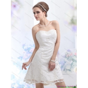 2015 New Arrival Sweetheart Mini-length Wedding Dress with Lace