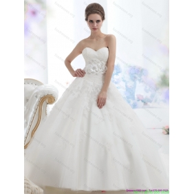 2015 New Arrival Sweetheart Wedding Dress with Lace and Hand Made Flowers