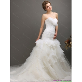 2015 New Arrival Sweetheart Wedding Dress with Ruching and Ruffles