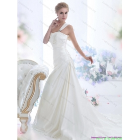 Beautiful 2015 One Shoulder Wedding Dresses with Ruching and Bowknot