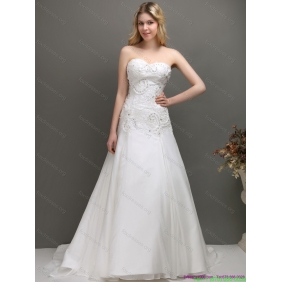 Beautiful 2015 Sweetheart A Line Wedding Dress with Appliques and Beading