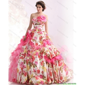 Beautiful Ruffles Multi Color Wedding Dresses with Brush Train and Hand Made Flowers