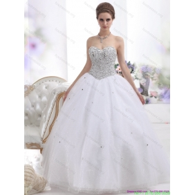 Beautiful Sweetheart Floor Length White Wedding Dresses with Brush Train and Rhinestones
