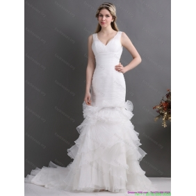 Beautiful V Neck 2015 Wedding Dress with Ruching and Ruffles