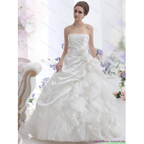 Beautiful White Strapless Ruffles Wedding Dresses with Chapel Train and Hand Made Flower