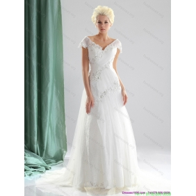 Elegant 2015 Beading and Lace Wedding Dress with Court Train