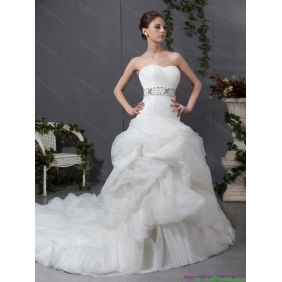 Elegant 2015 Strapless Wedding Dress with Beading and Ruching